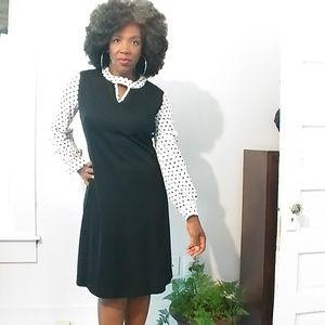 🌹Vintage Black and White Polka Dot Dress